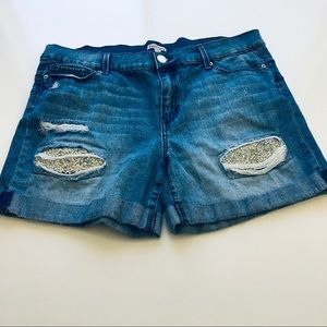 Juicy Couture Distressed Denim Jean Shorts Size 14